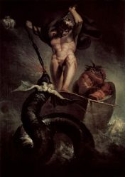 Thor battles the serpent Jörmungandr. At the Ragnarök, they kill each other. Thor also had considerably more clothes than as depicted.