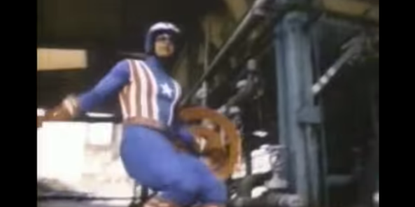 Pictured: an idiot in a costume. This is from an actual Captain America movie.
